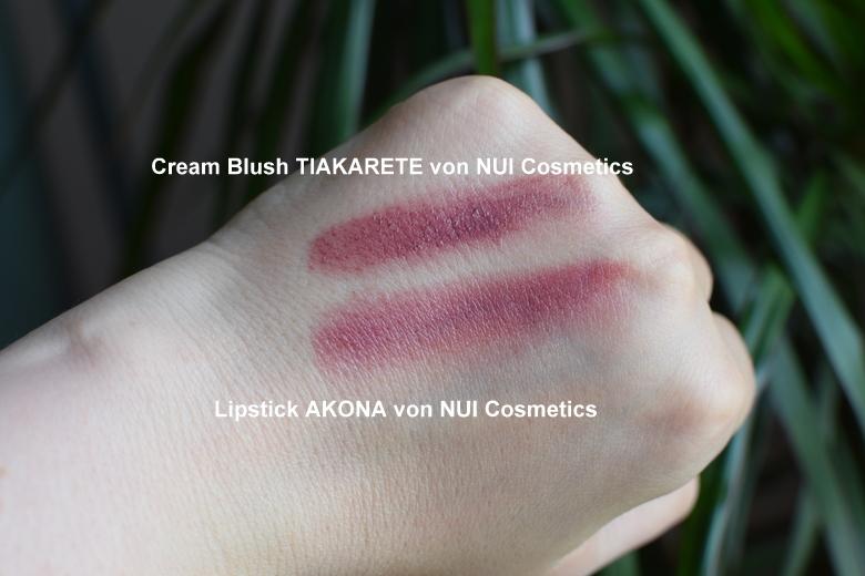 Swatches vom Cream Blush in Tiakarete und Lippenstift Akona von NUi Cosmetics