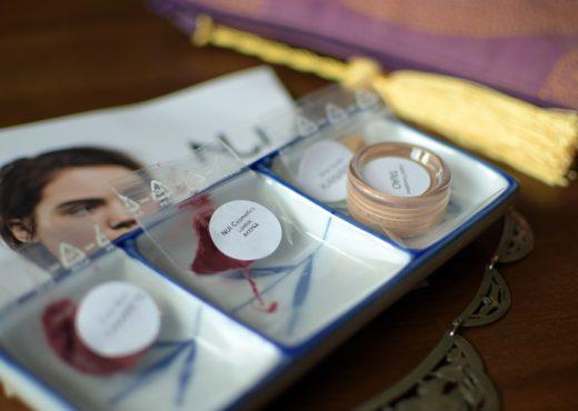Proben von Lipstick Akona, Blush Tiakarete, Foundation Taiao und Brow Sculpt Kanapa von NUI Cosmetics